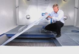 Bodenabsauganlage - Unterflurabsauganlage mit indirektem GESCHA Absaugsystem für den Lackierraum oder Lackierkabine.